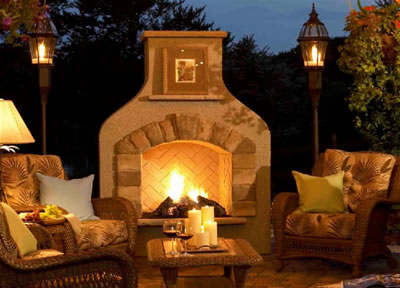 Outdoor Fireplace at night