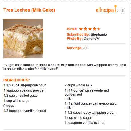 All Recipes: Tres Leche Cake