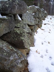 Image Found: Wikipedia: Stone wall at Frost's Farm in Derry New Hampshire, which he describes in his poem,  The Mending Wall