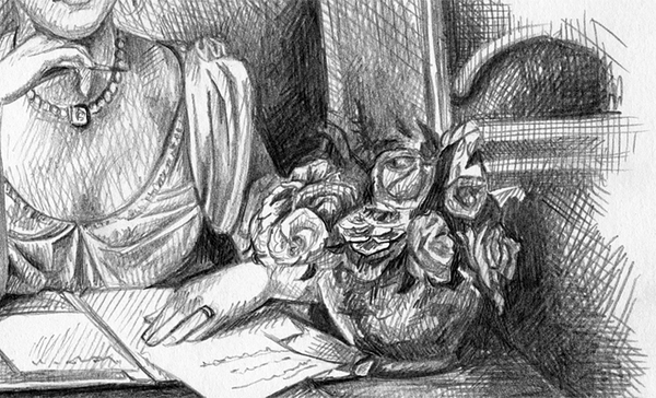"Sketch by Lyubov Malygina of  ""Penning a Letter"" by George Goodwin Kilburne 1871  Donetsk, Ukraine www.behance.net"