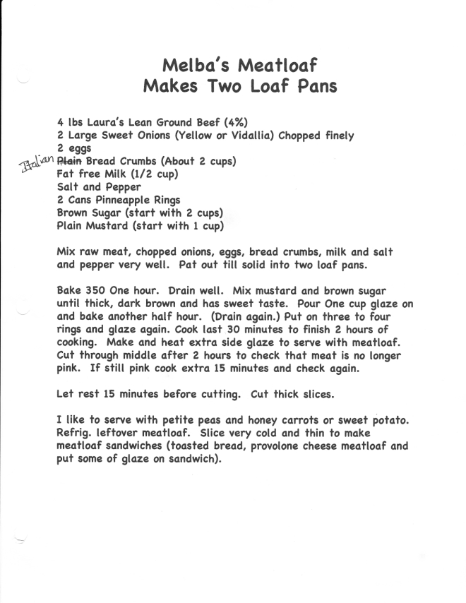 Melba's Meatloaf Recipe Scan